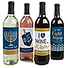 Happy Hanukkah - Chanukah Wine Bottle Label Stickers - Set of 4