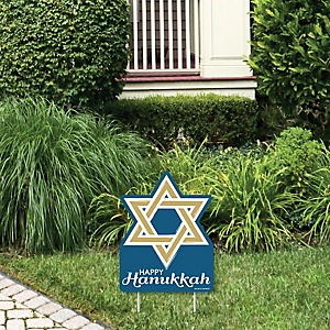 Happy Hanukkah - Outdoor Lawn Sign - Chanukah Holiday Party Yard Sign - 1 Piece
