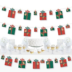 Happy Holiday Presents - Christmas Party DIY Decorations - Clothespin Garland Banner - 44 Pieces