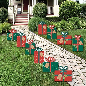 Happy Holiday Presents - Lawn Decorations - Outdoor Christmas Party Yard Decorations - 10 Piece