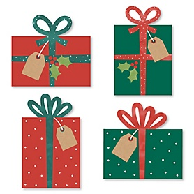 Happy Holiday Presents - DIY Shaped Christmas Party Cut-Outs - 24 Count