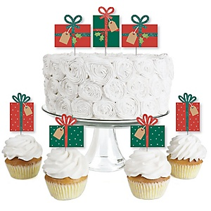 Happy Holiday Presents - Dessert Cupcake Toppers - Christmas Party Clear Treat Picks - Set of 24
