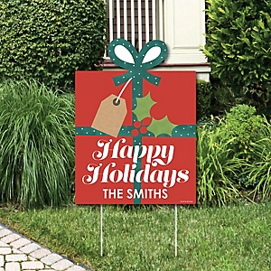 Happy Holiday Presents - Party Decorations - Christmas Party Personalized Welcome Yard Sign