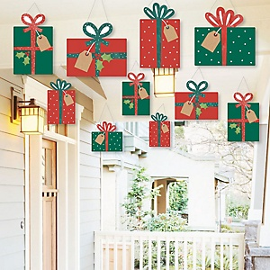 Hanging Happy Holiday Presents - Outdoor Christmas Party Hanging Porch and Tree Yard Decorations - 10 Pieces