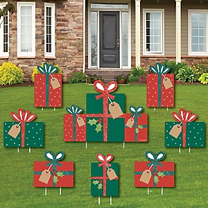 Happy Holiday Presents - Yard Sign and Outdoor Lawn Decorations - Christmas Party Yard Signs - Set of 8