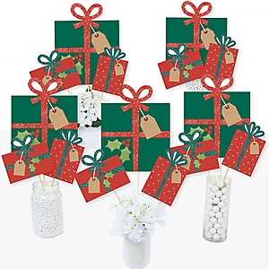 Happy Holiday Presents - Christmas Party Centerpiece Sticks - Table Toppers - Set of 15