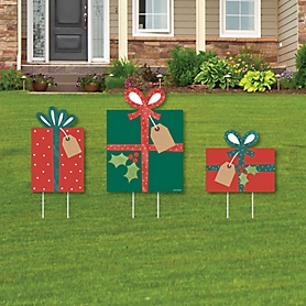 Happy Holiday Presents - Outdoor Lawn Sign Decorations with Stakes - Christmas Party Yard Display - 3 Pieces