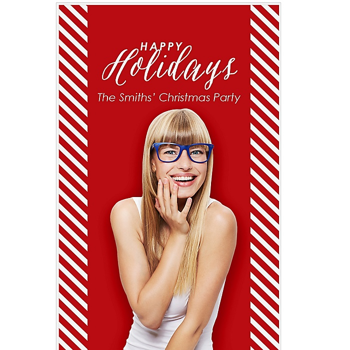 "Happy Holiday - Holiday Party Personalized Photo Booth Backdrops - 36"" x 60"""