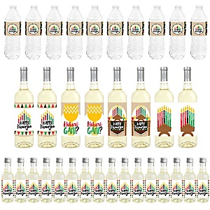 Happy Kwanzaa - Mini Wine Bottle Labels, Wine Bottle Labels and Water Bottle Labels - African Heritage Holiday Decorations - Beverage Bar Kit - 34 Pieces