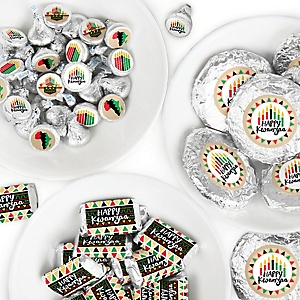 Happy Kwanzaa - Mini Candy Bar Wrappers, Round Candy Stickers and Circle Stickers - African Heritage Holiday Candy Favor Sticker Kit - 304 Pieces