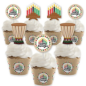 Happy Kwanzaa - Cupcake Decoration - African Heritage Holiday Cupcake Wrappers and Treat Picks Kit - Set of 24