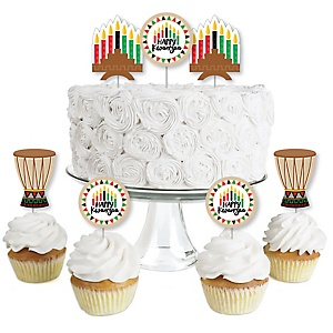 Happy Kwanzaa - Dessert Cupcake Toppers - African Heritage Holiday Clear Treat Picks - Set of 24