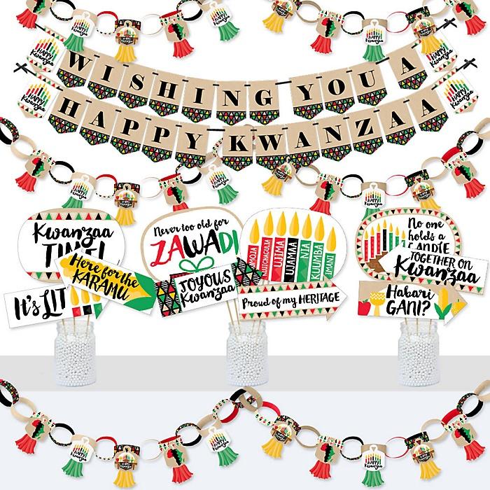 Happy Kwanzaa - Banner and Photo Booth Decorations - African Heritage Holiday Supplies Kit - Doterrific Bundle