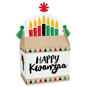 Happy Kwanzaa - Treat Box Party Favors - African Heritage Holiday Goodie Gable Boxes - Set of 12