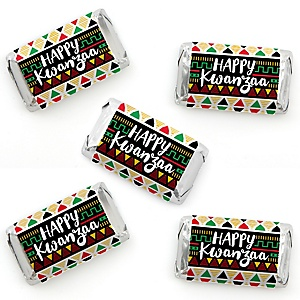 Happy Kwanzaa - Mini Candy Bar Wrapper Stickers - African Heritage Holiday Small Favors - 40 Count
