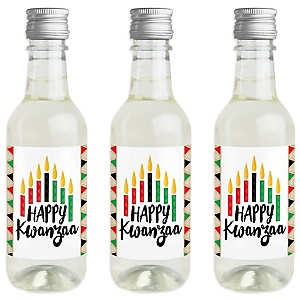 Happy Kwanzaa - Mini Wine and Champagne Bottle Label Stickers - African Heritage Holiday Favor Gift - For Women and Men - Set of 16