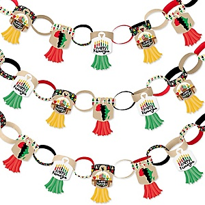 Happy Kwanzaa - 90 Chain Links and 30 Paper Tassels Decoration Kit - African Heritage Holiday Paper Chains Garland - 21 feet