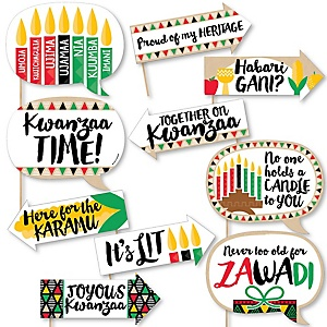 Funny Happy Kwanzaa - African Heritage Holiday 10 Piece Photo Booth Props Kit
