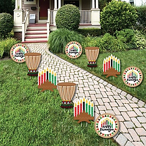 Happy Kwanzaa - Kinara and Drum Lawn Decorations - Outdoor African Heritage Holiday Yard Decorations - 10 Piece