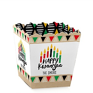 Happy Kwanzaa - Party Mini Favor Boxes - Personalized African Heritage Holiday Treat Candy Boxes - Set of 12