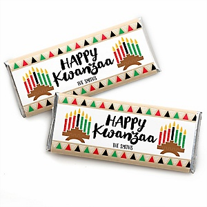 Happy Kwanzaa - Personalized Candy Bar Wrappers African Heritage Holiday Favors - Set of 24