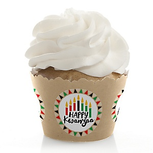 Happy Kwanzaa - African Heritage Holiday Decorations - Party Cupcake Wrappers - Set of 12