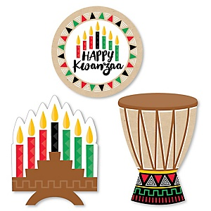 Happy Kwanzaa - DIY Shaped African Heritage Holiday Paper Cut-Outs - 24 ct
