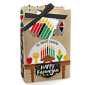 Happy Kwanzaa - Personalized African Heritage Holiday Favor Boxes - Set of 12