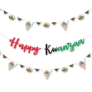 Happy Kwanzaa - African Heritage Holiday Letter Banner Decoration - 36 Banner Cutouts and Happy Kwanzaa Banner Letters