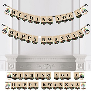 Happy Kwanzaa - African Heritage Holiday Bunting Banner - Party Decorations - Wishing You a Happy Kwanzaa