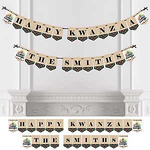 Happy Kwanzaa - Personalized African Heritage Holiday Bunting Banner & Decorations