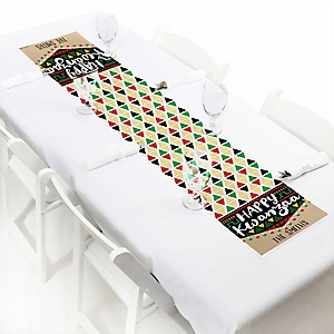 "Happy Kwanzaa - Personalized Petite African Heritage Holiday Paper Table Runner - 12"" x 60"""