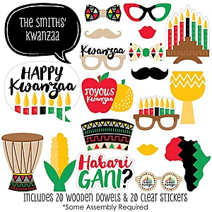 Happy Kwanzaa - African Heritage Holiday 20 Piece Photo Booth Props Kit