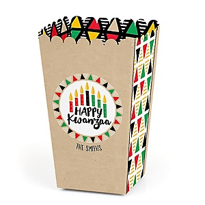 Happy Kwanzaa - Personalized African Heritage Holiday Popcorn Favor Treat Boxes - Set of 12