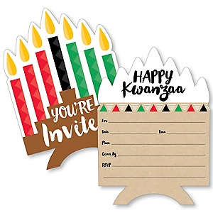 Happy Kwanzaa - Shaped Fill-In Invitations - African Heritage Holiday Invitation Cards with Envelopes - Set of 12