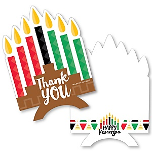 Happy Kwanzaa - Shaped Thank You Cards - African Heritage Holiday Thank You Note Cards with Envelopes - Set of 12