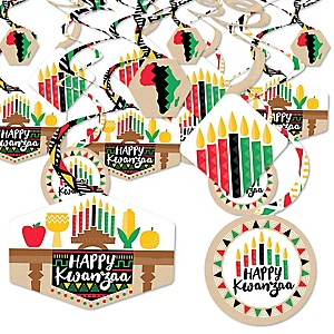 Happy Kwanzaa - African Heritage Holiday Hanging Decor - Party Decoration Swirls - Set of 40