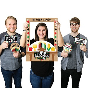 Happy Kwanzaa - Personalized African Heritage Holiday Photo Booth Picture Frame & Props - Printed on Sturdy Material