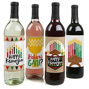 Happy Kwanzaa - African Heritage Holiday Decorations for Women and Men - Wine Bottle Label Stickers - Set of 4