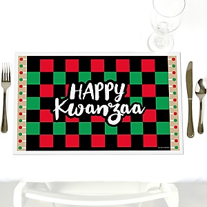 Happy Kwanzaa - Party Table Decorations - African Heritage Holiday Placemats - Set of 12
