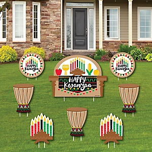 Happy Kwanzaa - Yard Sign & Outdoor Lawn Decorations - African Heritage Holiday Yard Signs - Set of 8