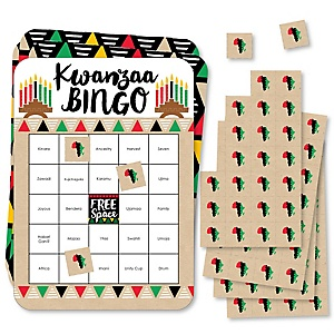 Happy Kwanzaa - Bingo Cards and Markers - African Heritage Holiday Bingo Game - Set of 18