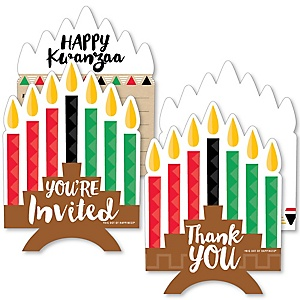 Happy Kwanzaa - 20 Shaped Fill-In Invitations and 20 Shaped Thank You Cards Kit - African Heritage Holiday Stationery Kit - 40 Pack