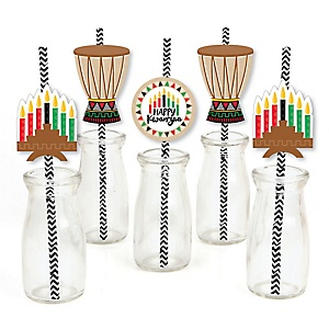 Happy Kwanzaa - Paper Straw Decor - African Heritage Holiday Striped Decorative Straws - Set of 24