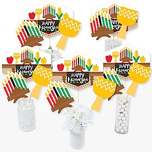 Happy Kwanzaa - African Heritage Holiday Centerpiece Sticks - Table Toppers - Set of 15