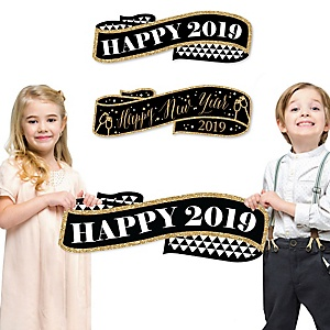 Happy New Year Signs & Photo Props - Happy 2019 Holiday Family Photo Props - Set of 2