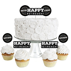 Happy Retirement - Dessert Cupcake Toppers - Retirement Party Clear Treat Picks - Set of 24