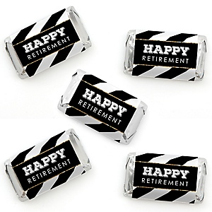 Happy Retirement - Mini Candy Bar Wrapper Stickers - Retirement Party Small Favors - 40 Count