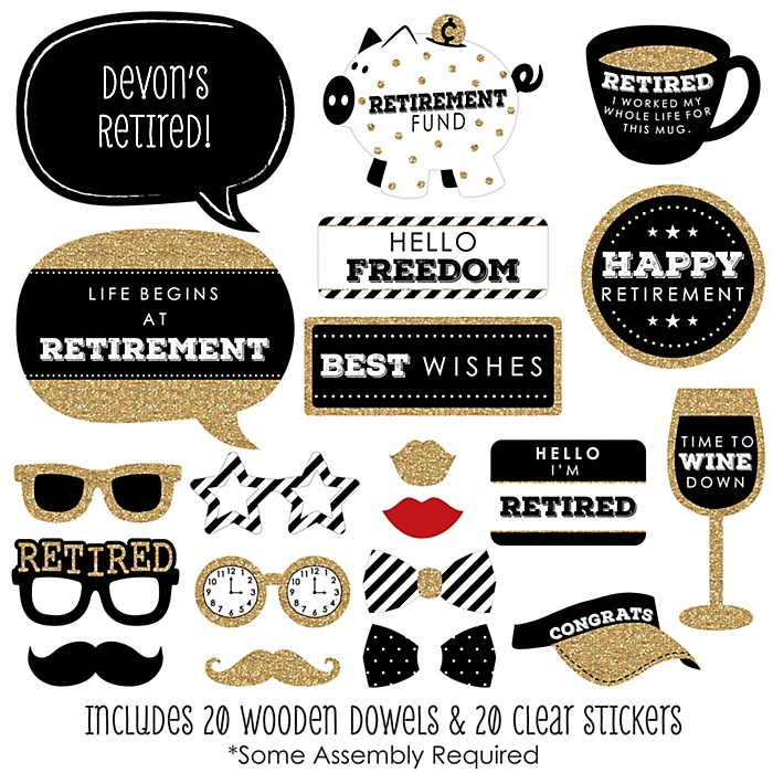 Happy Retirement - 20 Piece Retirement Party Photo Booth Props Kit
