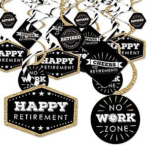Happy Retirement - Retirement Party Hanging Decor - Party Decoration Swirls - Set of 40
